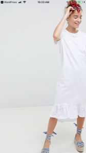 ASOS white t-shirt dress with lace hem
