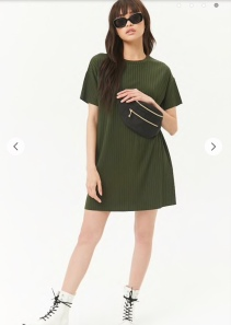 Forever 21 Green Ribbed t-shirt dress