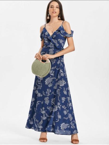 Paisley Cold Shoulder Maxi Wrap Dress